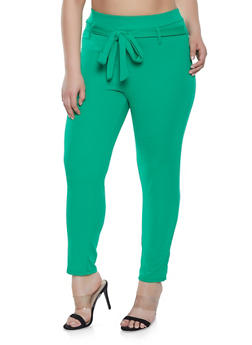 Plus Size Solid Tie Front Dress Pants - 8441020626340