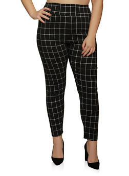 Plus Size Pull On Plaid Dress Pants - 8441020626497