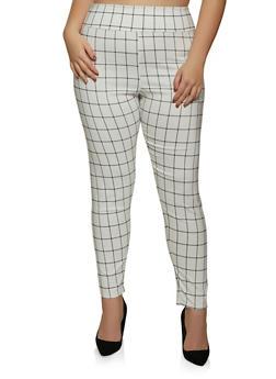 Plus Size Pull On Plaid Dress Pants - 8441020626497