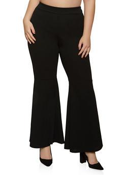 Plus Size Crepe Knit Flared Pants - 8441020626509