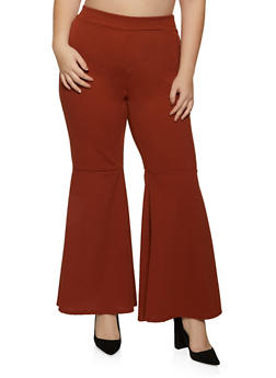 Plus Size Crepe Knit Flared Pants - 8441020626509
