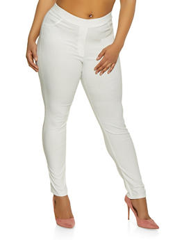 Plus Size Solid Skinny Stretch Pants - 8441020626687