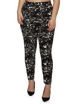 Plus Size Paint Splatter Dress Pants - 8441020627497