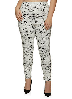 Plus Size Paint Splatter Dress Pants - 8441020627497