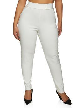 Plus Size Tabbed Waist Dress Pants - 8441020627633