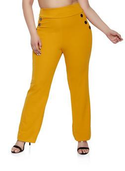 Plus Size Crepe Knit Sailor Pants - 8441020628277
