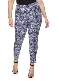 Plus Size Pull On Animal Print Pants - 8441020628763