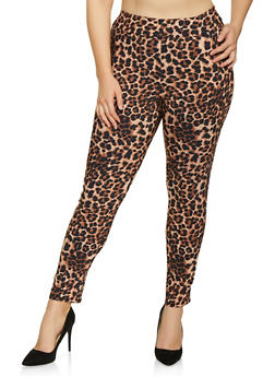 Plus Size Pull On Animal Print Pants - 8441020628763