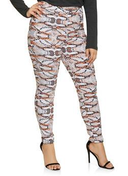 Plus Size Pull On Animal Print Pants - RUST - 8441020628763