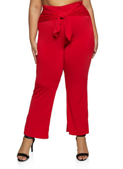 Plus Size Tie Waist Pull On Pants - 8441020629067