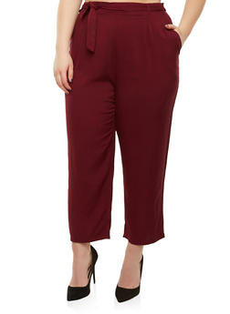 Plus Size Tie Waist Pants - 8441054265911