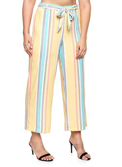 Plus Size Striped Wide Leg Pants - 8441062701648