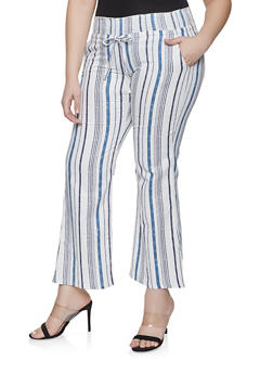 Plus Size Striped Linen Pants - 8441062705717