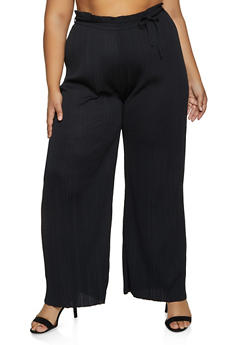 Plus Size Pleated Tie Waist Palazzo Pants - 8441062707235