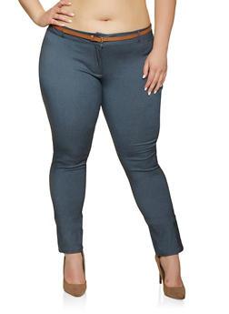 Blue Plus Size Dress Pants