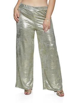 Plus Size Metallic Coated Palazzo Pants - 8441062707493