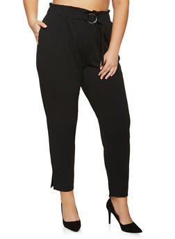 Plus Size Buckle Waist Crepe Knit Pants - 8441062707528