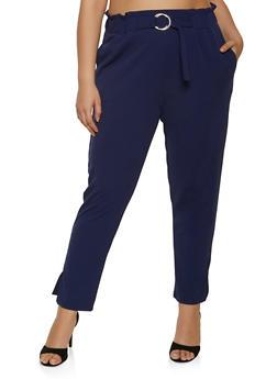 Plus Size Buckle Waist Crepe Knit Pants - 8441062707528