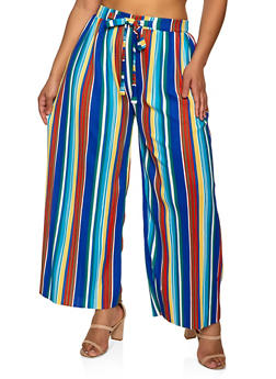 Plus Size Striped Tie Front Palazzo Pants - 8441062707540