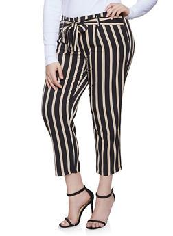 Plus Size Striped Tie Waist Pants - 8441062707617