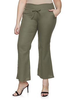 Plus Size Flared Linen Pants - 8441062707717