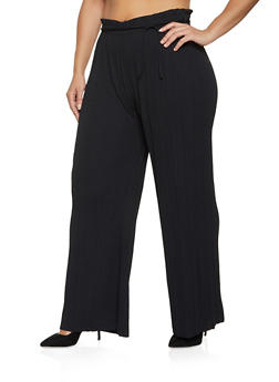 Plus Size Tie Waist Pleated Palazzo Pants - 8441062708235