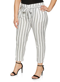 Plus Size Striped Linen Pants - 8441062708617