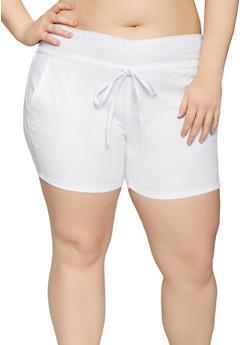 Plus Size Smocked Waist Linen Shorts - 8441062708717