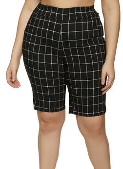 Plus Size Plaid Stretch Bermuda Shorts - 8442020625129