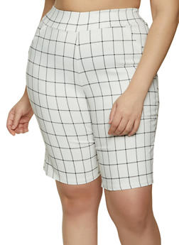 Plus Size Plaid Stretch Bermuda Shorts - 8442020625129
