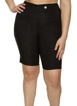 Plus Size Fixed Tab Stretch Bermuda Shorts - 8442020626511