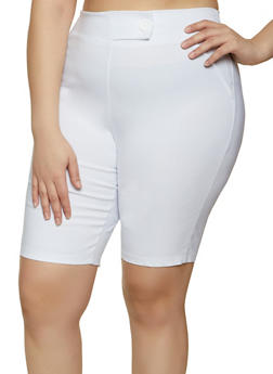 Plus Size Fixed Tab Stretch Bermuda Shorts - 8442020626511