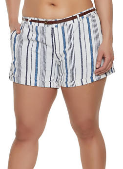 Plus Size Belted Linen Shorts | 8442062703241 - 8442062703241