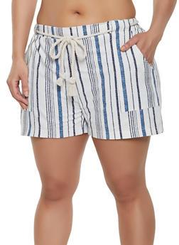 Plus Size Rope Belt Linen Shorts - 8442062703242