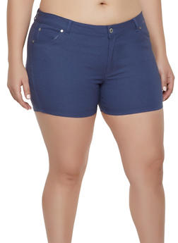 Plus Size Stretch Solid Shorts - 8442062707193