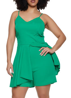 Plus Size Textured Knit Overlay Romper - 8443020627726