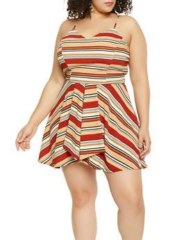 Plus Size Striped Overlay Romper - 8443020627762