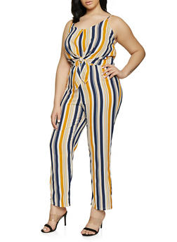 Plus Size Striped Tie Front Ruffled Jumpsuit - 8443020628125
