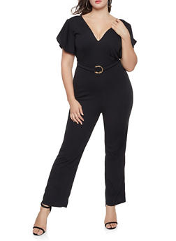 Plus Size O Ring Detail Flutter Sleeve Jumpsuit - 8443020628452