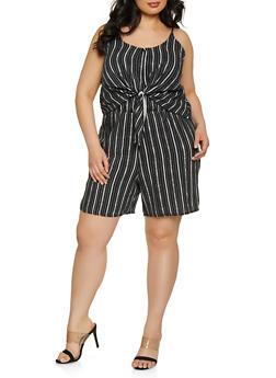 Plus Size Striped Tie Front Romper - 8443020628715