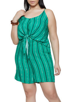 Plus Size Striped Tie Front Romper - KELLY GREEN - 8443020628715
