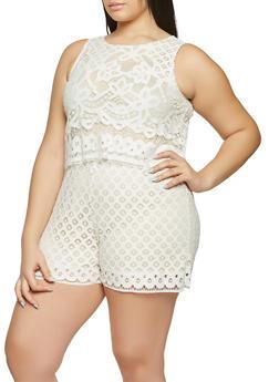 Plus Size Crochet Romper - 8443064467467