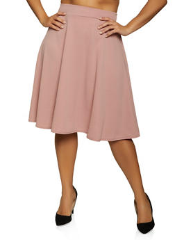 Plus Size Crepe Skater Skirt - 8444020620060