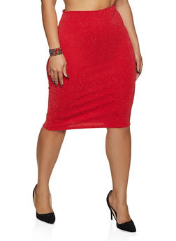 Plus Size Glitter Knit Pencil Skirt - 8444020620956