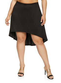 Plus Size High Low Skirt - 8444020621194