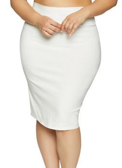 Plus Size Stretch Pencil Skirt - 8444020621744
