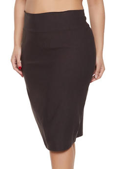 Plus Size Stretch Pencil Skirt - 8444020621744
