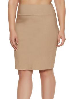 Plus Size Stretch Pencil Skirt | 8444020622526 - 8444020622526