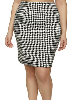 Plus Size Houndstooth Pencil Skirt - 8444020622528