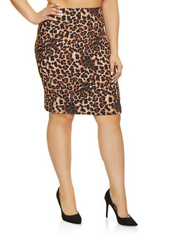 Plus Size Animal Print Pencil Skirt - BROWN - 8444020622529